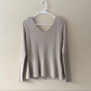 WHBM Tan/Gold Long Sleeve V-Neck Knit Top Size M